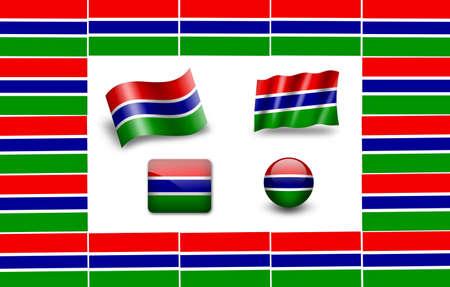flag of Gambia. icon set photo