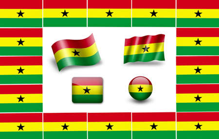 flag of Ghana. icon set photo