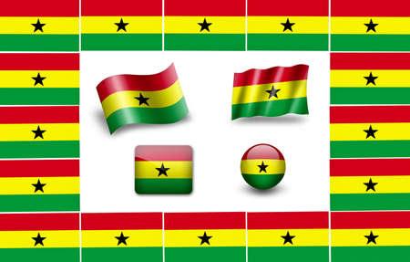 flag of Ghana. icon set Stock Photo