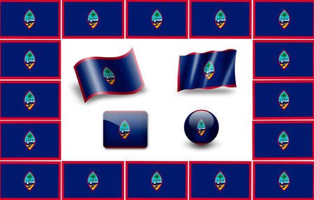 guam: flag of Guam. icon set
