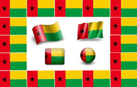 bissau: flag of Guinea - Bissau. icon set Stock Photo