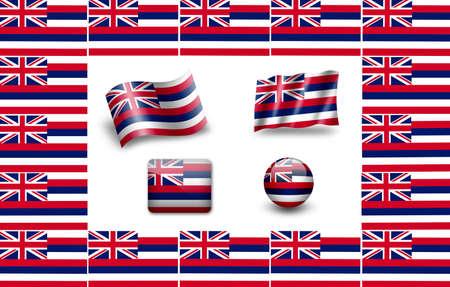 flag of Hawaii,USA. icon set photo