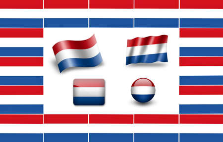 drapeau hollande: Drapeau des Pays-Bas. Drapeau des Pays-Bas. jeu d'ic�nes Banque d'images