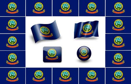 flag of Idaho. USA. icon set Stock Photo - 12011861