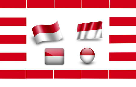 foreign nation: flag of Indonesia. icon set Stock Photo