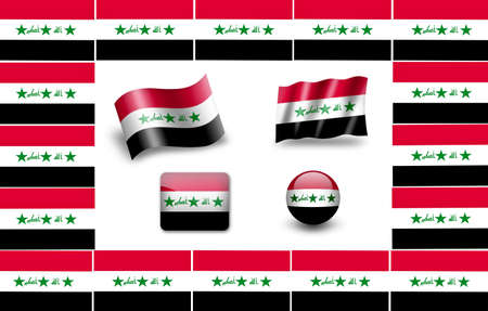 flag of Iraq. icon set photo