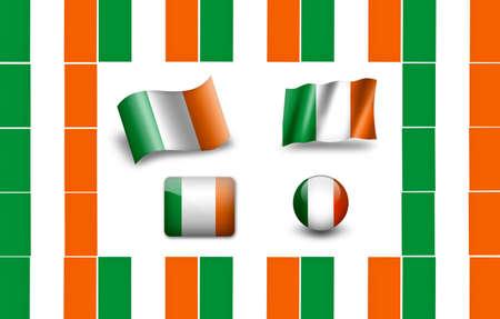 eire: flag of Ireland. icon set