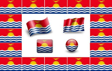 kiribati: Flag of Kiribati. icon set. flags frame Stock Photo