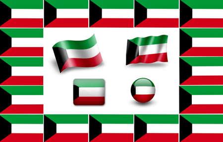 Flag of Kuwait. icon set. flags frame photo