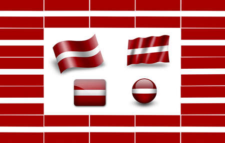 Flag of Latvia. icon set. flags frame photo