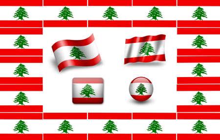 Flag of Lebanon. icon set. flags frame photo