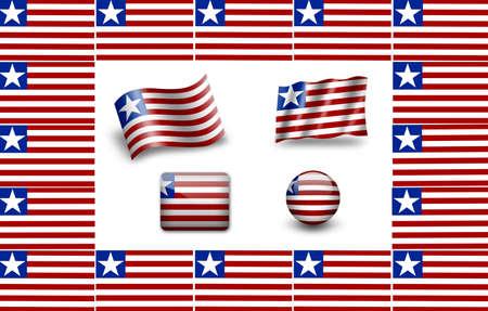 Flag of Liberia. icon set. flags frame photo