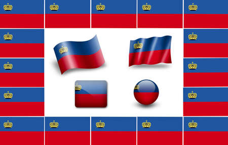 liechtenstein: flag of Liechtenstein. icon set. flags frame Stock Photo
