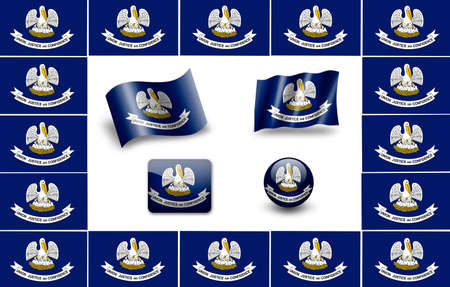 louisiana flag: Flag of Louisiana (USA). icon set. flags frame