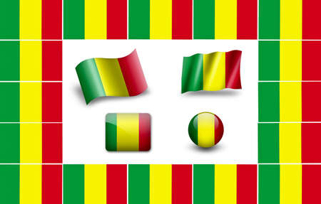 Flag of Mali. icon set photo