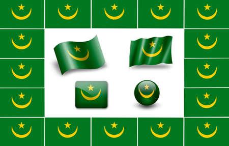 mauritania: flag of Mauritania. icon set