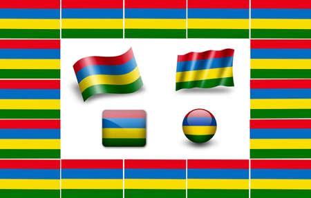Flag of Mauritius. icon set photo