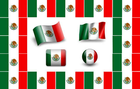 Bandera de M�xico. conjunto de iconos photo