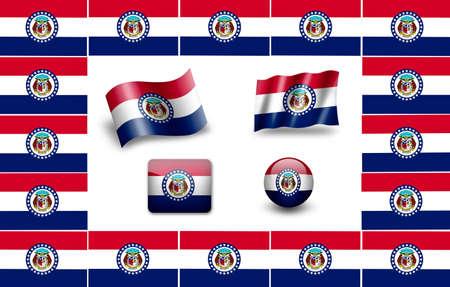 jefferson: Flag of Missouri. icon set