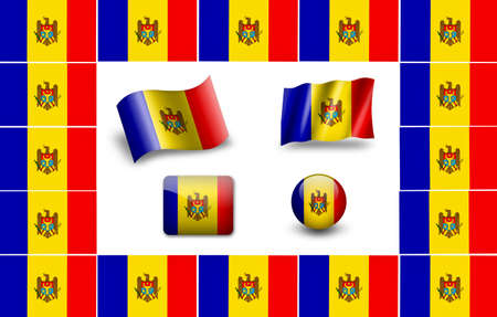 flag of Moldova. icon set photo