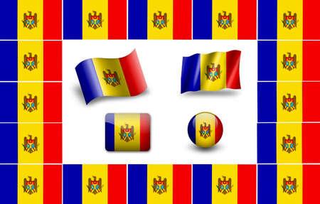 flag of Moldova. icon set