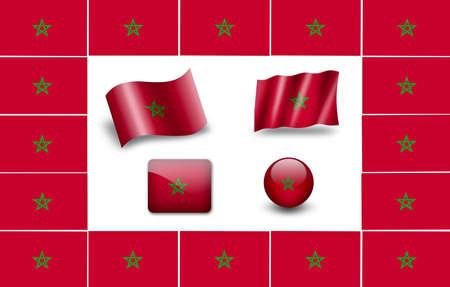 Flag of Morocco. icon set photo