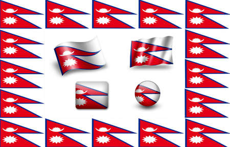 Flag of Nepal. icon set Stock Photo - 12011949