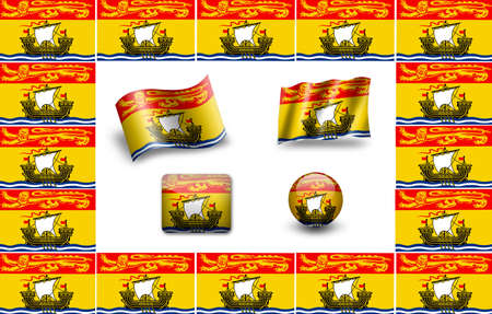 Flag of New Brunswick (Canada). icon set. flags frame photo