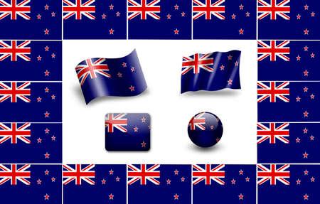 Flag Of New Zealand. icon set photo