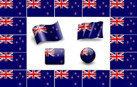 Flag Of New Zealand. icon set photo