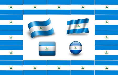 flag of Nicaragua. icon set Reklamní fotografie