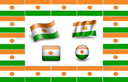 Flag of Niger. icon set photo