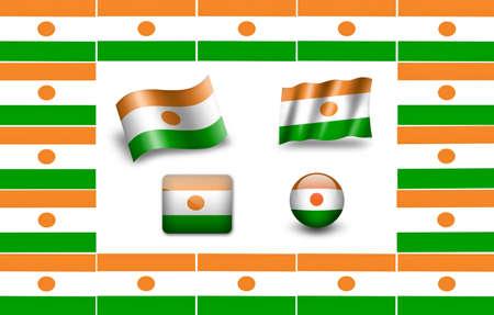 niger: Flag of Niger. icon set Stock Photo