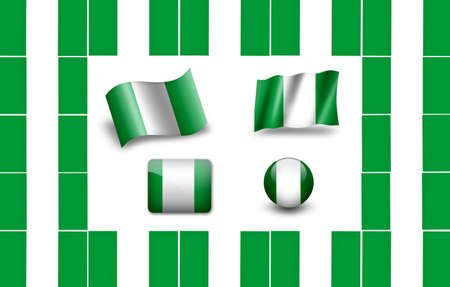 Flag Of Nigeria. icon set photo