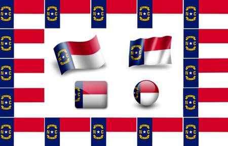 Flag of North Carolina, USA. icon set. flags frame photo