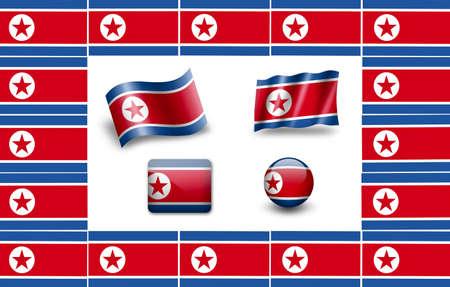 Flag of North Korea. icon set. flags frame photo