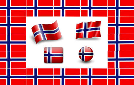 Flag Of Norway. icon set. flags frame photo