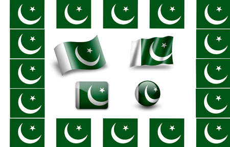pakistani: flag of Pakistan.icon set. flags frame