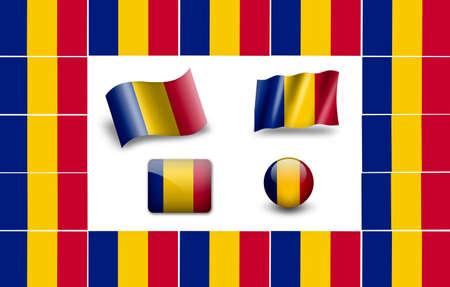 edel: Flag of Romania. icon set. flags frame