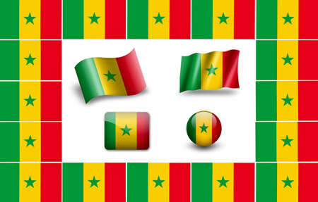 Flag of Senegal. icon set. flags frame photo
