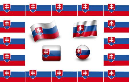 Flag of Slovakia. icon set. flags frame photo