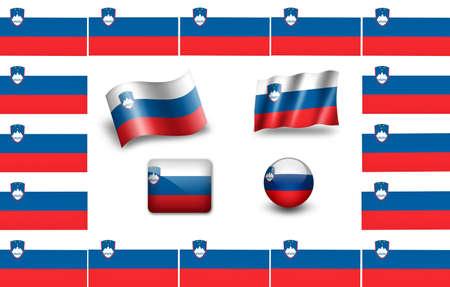 Flag of Slovenia. icon set. flags frame photo