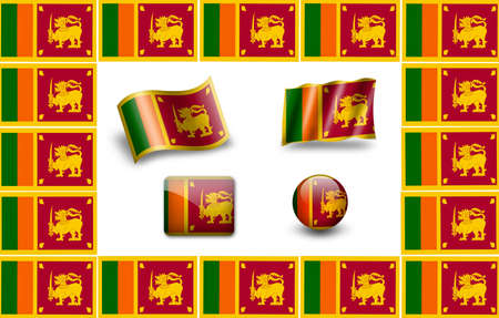 colombo: Flag of Sri Lanka. icon set. flags frame