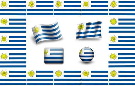 Flag of Uruguay.icon set. flags frame photo