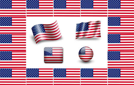 Flag of USA. icon set. flags frame photo