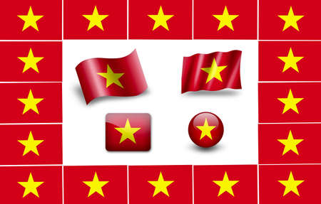 flag of vietnam. icon set. flags frame photo