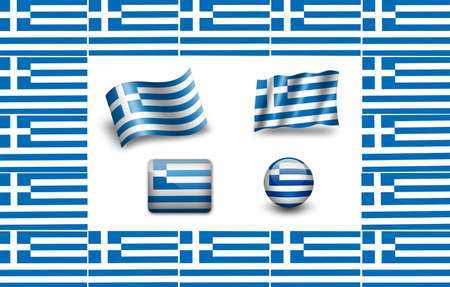 Greece flag. icon set. photo