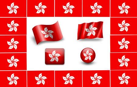 Hong Kong flag. icon set photo