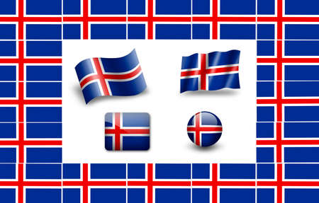 iceland flag: Iceland flag icon set. Stock Photo