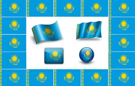 kazakhstan: Kazakhstan Flag. icon set. flags frame